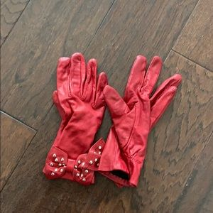 Red leather Michael Kors gloves size 7 used